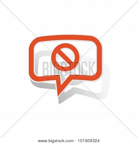 NO message sticker, orange