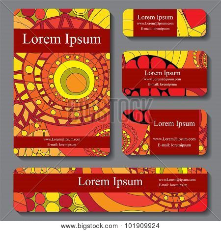 Stock Vector Set Of Business Card. Decorative Ornament. Template Doodle Design