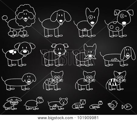 Vector Collection of Chalkboard Style Stick Figure Pets