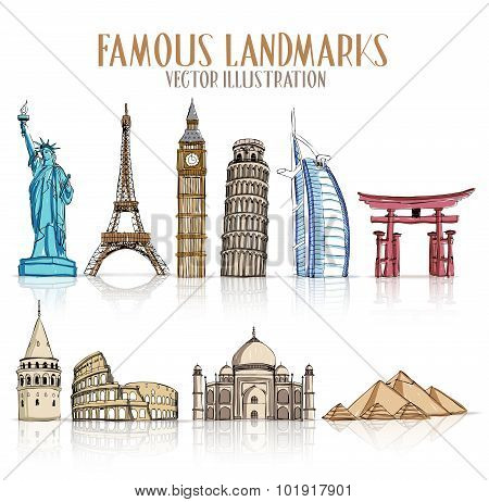 Set of Colorful Drawing of Famous and Popular Landmarks