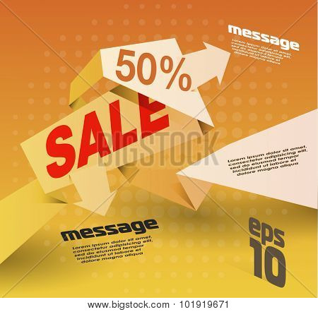 Sale shopping background and origami label for business promotion discount sale