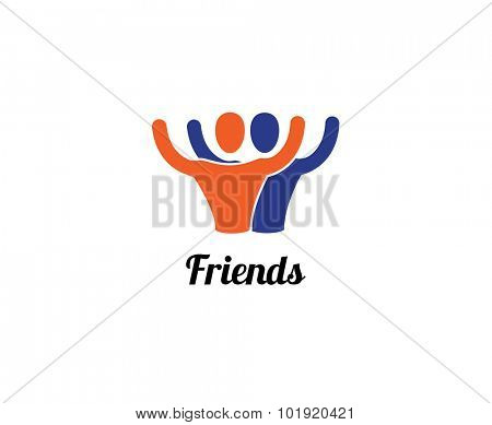 Friends or partners vector logo element. Business, command, sport and relations. Stock illustration for design.