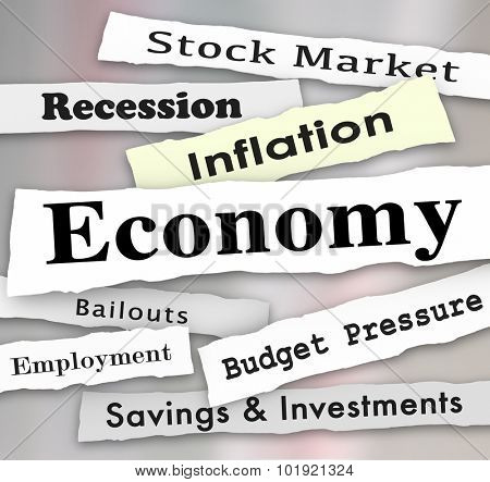 Economy headlines with words stock market, savings, investment, financial, bailout, recession, employement and more as special important reports or messages
