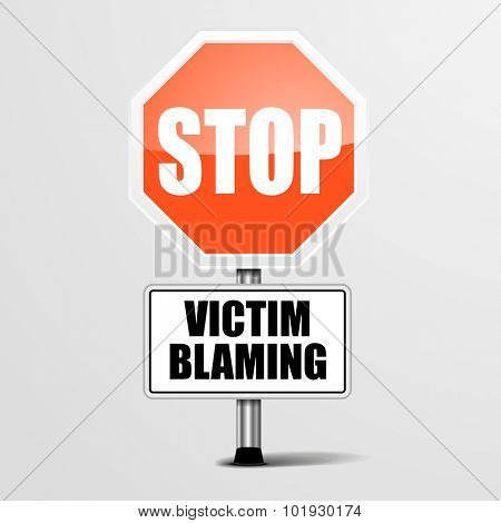 detailed illustration of a red stop Victim Blaming sign, eps10 vector