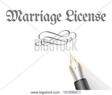 illustration of a Marriage License Letter with fountain pen