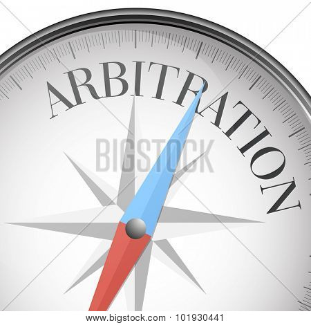 detailed illustration of a compass with Arbitration text, eps10 vector