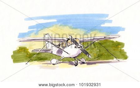 Hand painted sketch of small propeller plane