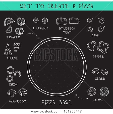 Template doodle set ingredients of chalk to create pizza