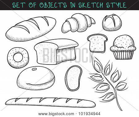 Set of 10 doodle bread baking. Sketch bread. Doodle baguette