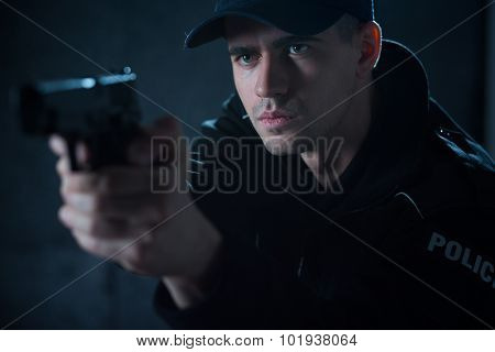 Policeman With Pistol