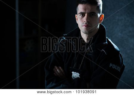Officer In Police Uniform