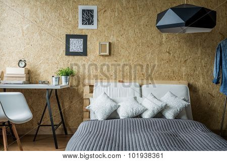 Pallet bed frame in contemporary minimalist interior poster
