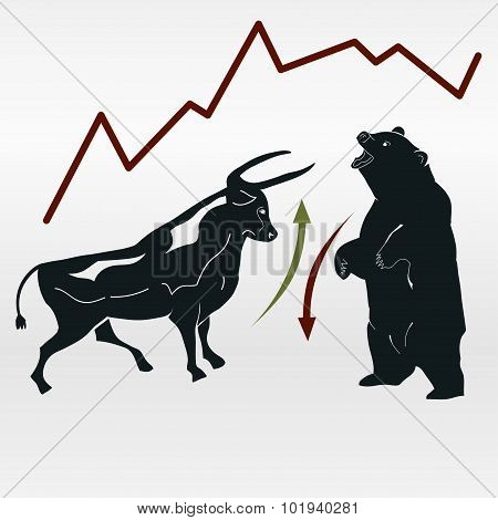 exchange, bull and bear, market report