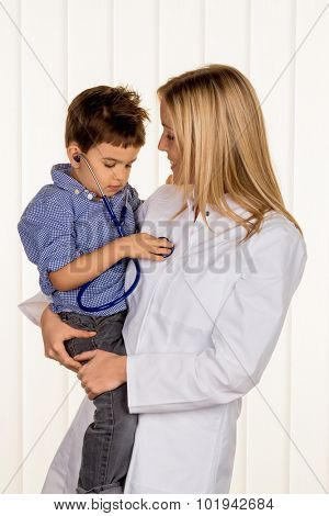 doctor and little boy, symbolizing diseases, diagnosis, heart failure