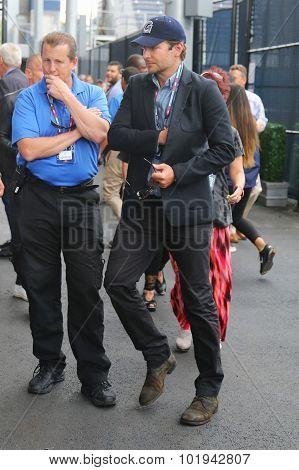 Actor Bradley Cooper arrived for men's final match at US OPEN 2015