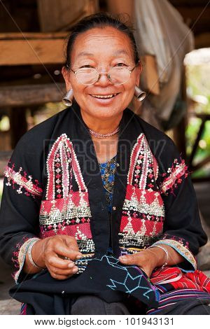 Old Thai Woman With Strange Earings