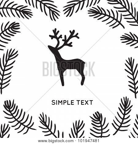 Cute young deer in decorative forest frame
