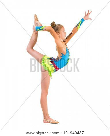 tittle gymnast doing stretching exercise isolated on white background poster