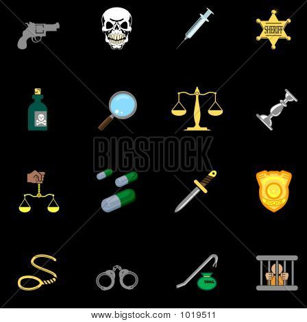 Law, Order, Police And Crime Icon Series Set