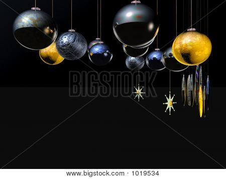 Xmas Card,  Star And Balls On A Wire.