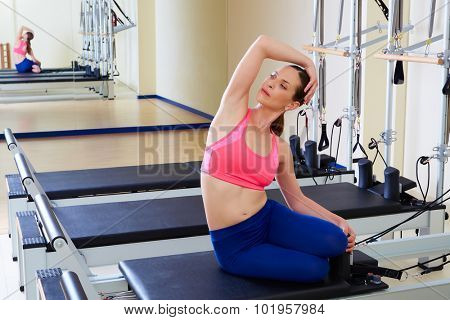 Pilates reformer woman mermaid exercise workout at gym poster