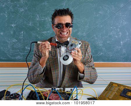 Nerd electronics technician silly retro teacher welding self made robot