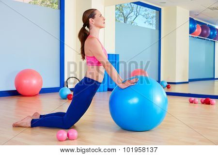 Pilates woman fitball swiss ball exercise workout at gym indoor poster