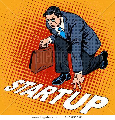 Business concept start-up businessman. Venture Fund or a startup company. Retro style pop art poster