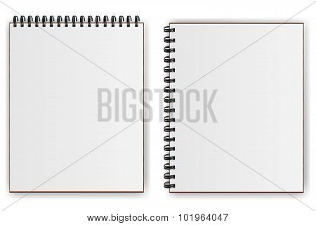 Notebooks with spiral shadow horizontally and vertically