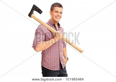 Young guy in a checkered shirt carrying an axe over his shoulder and looking at the camera isolated on white background
