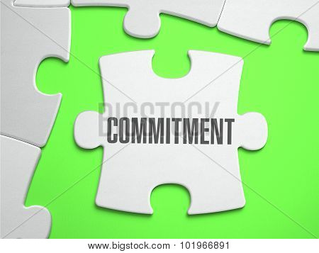 poster of Commitment - Jigsaw Puzzle with Missing Pieces. Bright Green Background. Close-up. 3d Illustration.