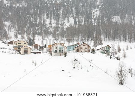Houses, After A Snowstorm, In Northern Italy
