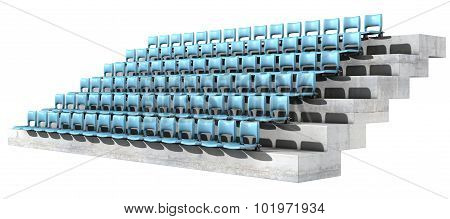 A section of numbered stadium seating with blue chairs set in rows on a sloping concrete bank poster