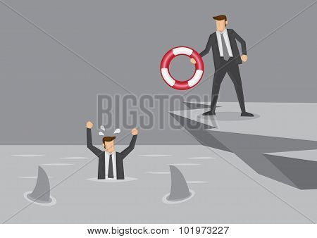 Life Saver For Businessman In Distress Vector Illustration