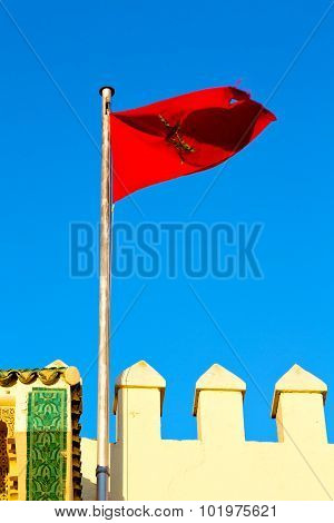 Tunisia  Waving Flag In The    Colour And Battlements