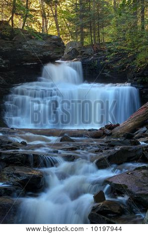 RB Ricketts Falls Ricketts Glen State Park viewed from Kitchen Creek in early Autumn. poster