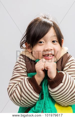 Kid Shivering Background / Kid Shivering / Kid Shivering, Studio Isolated Background