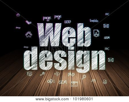 Web design concept: Web Design in grunge dark room