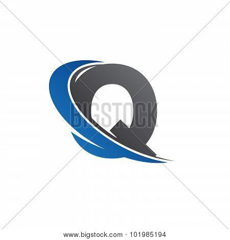 Q blue swoosh logo