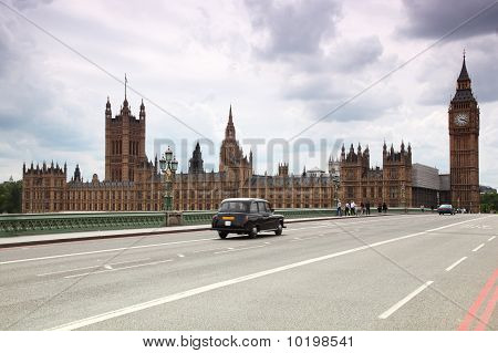 Westminster Cathedral And Big Ben Clock Tower In London.