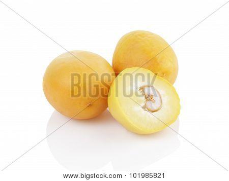 raw dates isolated on white background