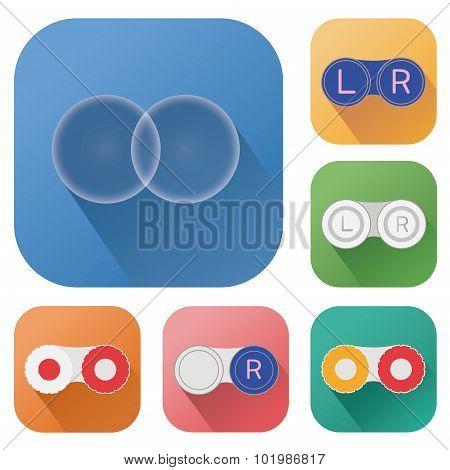 Contact lenses long shadow icons, colorful flat vector symbols