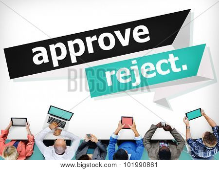 Approve Reject Canceled Decision Selection Concept poster