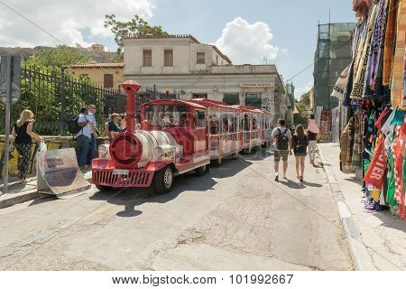 Athens, Greece 13 September 2015. Happy train in Monastiraki street is ready for a city sightseeing.
