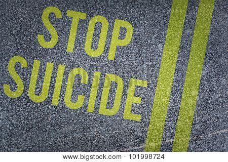 stop suicide against black road