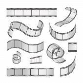 Slide film frame set, film roll 35mm. Media  filmstrip negative  and strip,  vector illustration poster