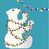 Christmas polar bear tangled in lights poster