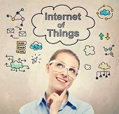 Internet of Things (IoT) sketch with young business woman wearing white eyeglasses poster