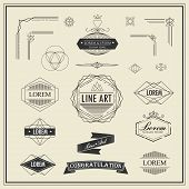 Set of retro vintage linear thin line art deco design elements geometric shape with frame corner badge poster