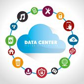 Data center, cloud computing and hosting, vector illustration eps 10. poster